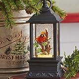 Lighted Snow Globe Lantern: 9.5 Inch, Black Holiday