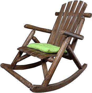 N/A - Silla mecedora para jardín o patio, de madera maciza natural, cómodo respaldo curvado, perfecto para uso en exterior o interior, B: Amazon.es: Deportes y aire libre