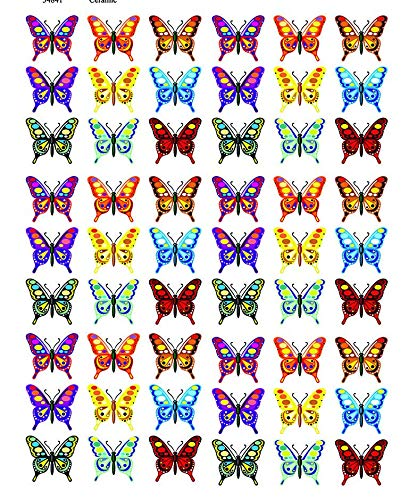 Colorful Butterflies - 34841 - Ceramic Decal - Enamel Decal - Glass Decal - Waterslide Decal - 3 Different Size Sheet (Images) to Choose from. Choose Either Ceramic (Enamel) or Glass Fusing Decals XpressionDecals