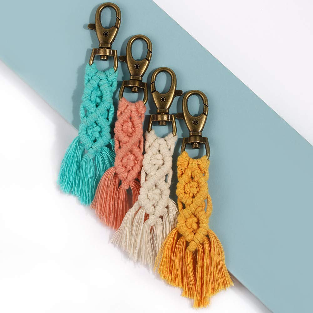 Amazon.com: CHICIEVE Mini Macramé Llaveros kits Boho Macramé ...