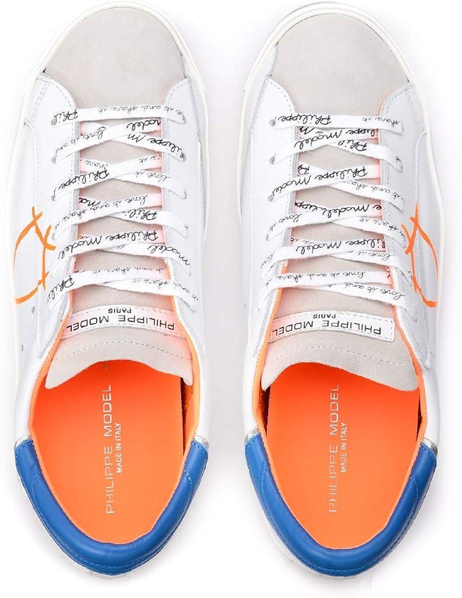 Philippe Model Baskets Paris X en Cuir Blanc avec Spoiler Bleu, Taille UK: Blanc