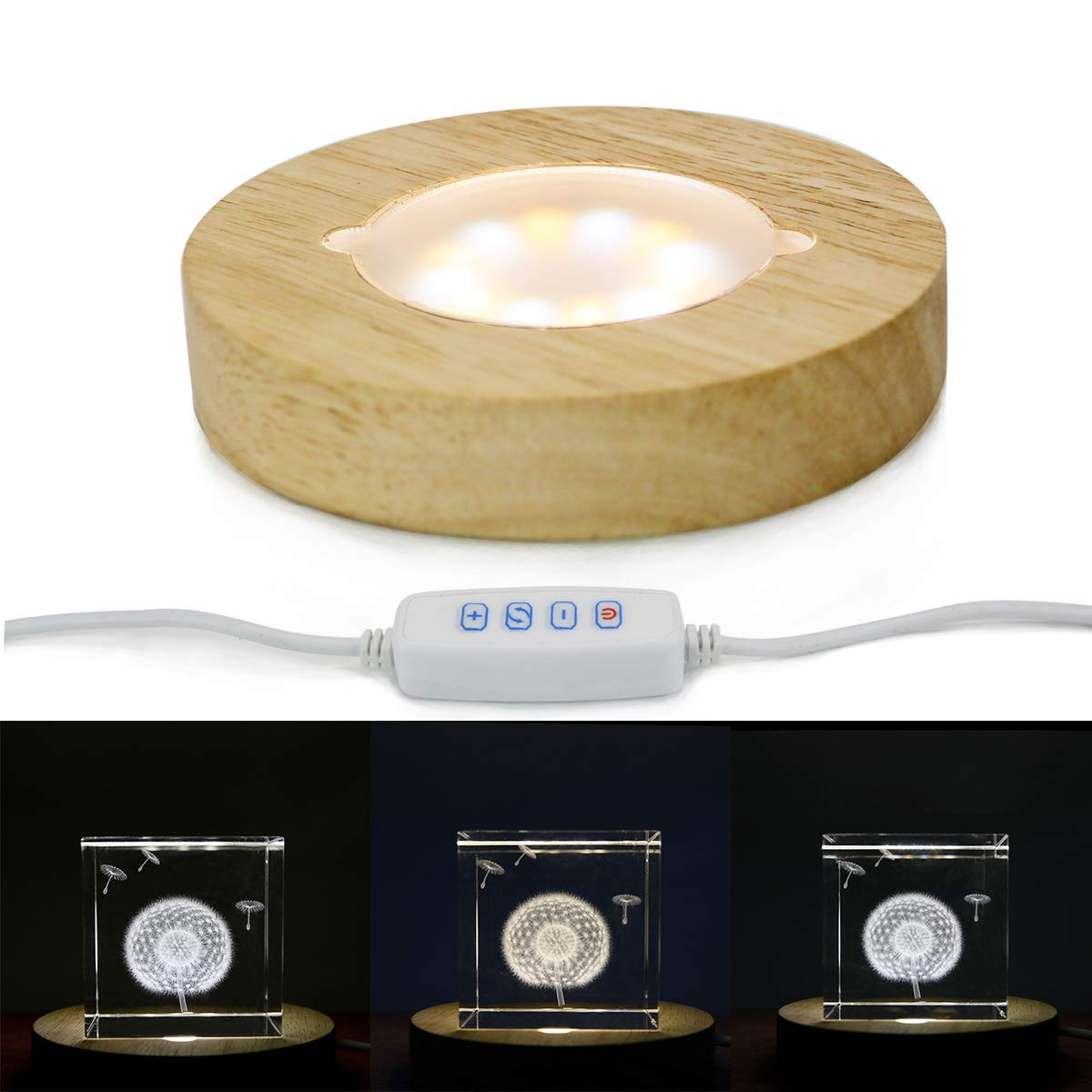 Mintso Wood LED Adjustable Display Base for Glass Crystal/Paperweight,4 Inch White/Warm Lighted by Mintso