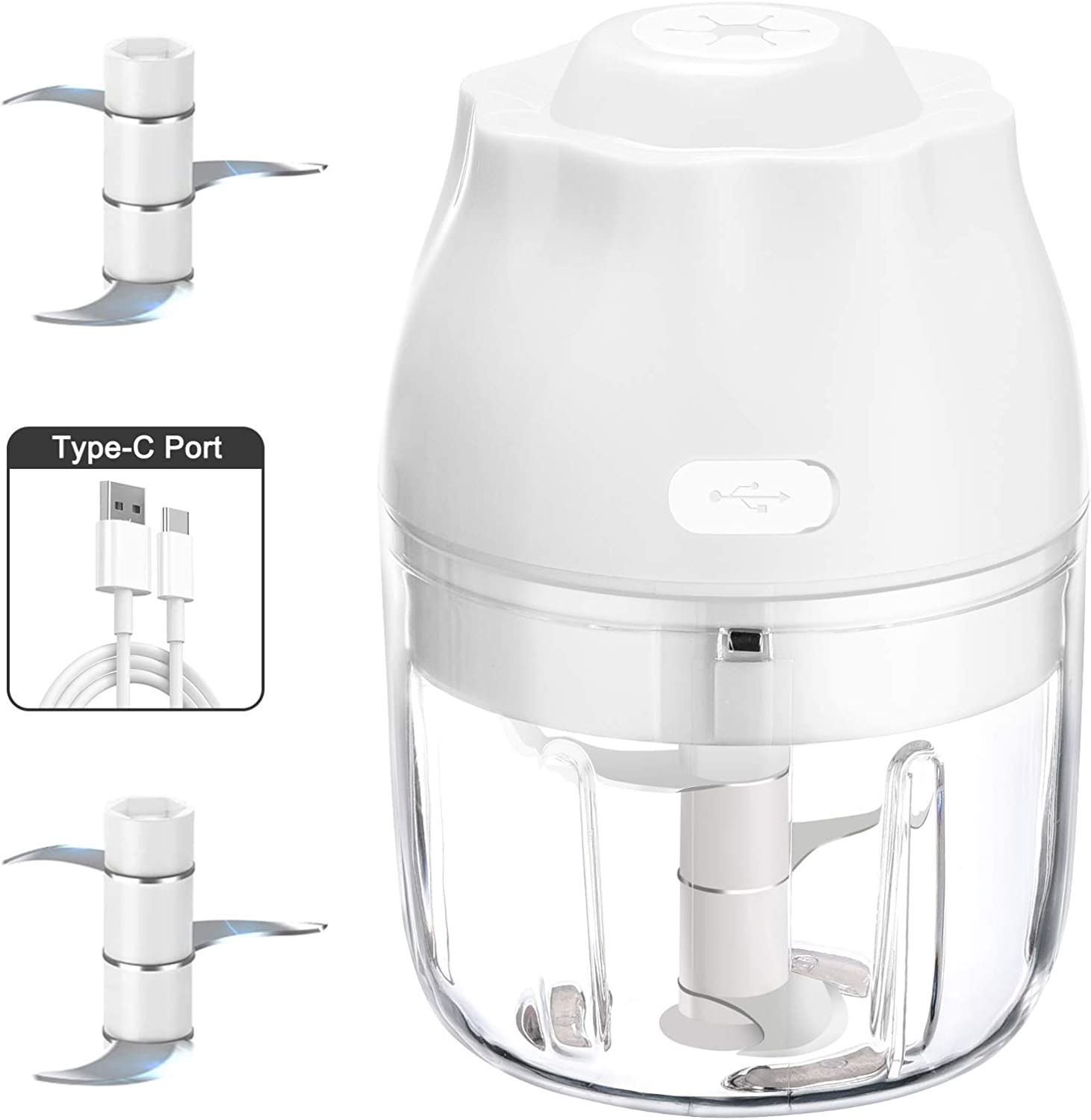 Electric Mini Garlic Chopper, Garlic Press With USB Charging, Vegetable and Garlic Mincer, Mini Food Processor For Onions/Chili/Meat/Nuts/Ginger/Baby Food -250ML(White)