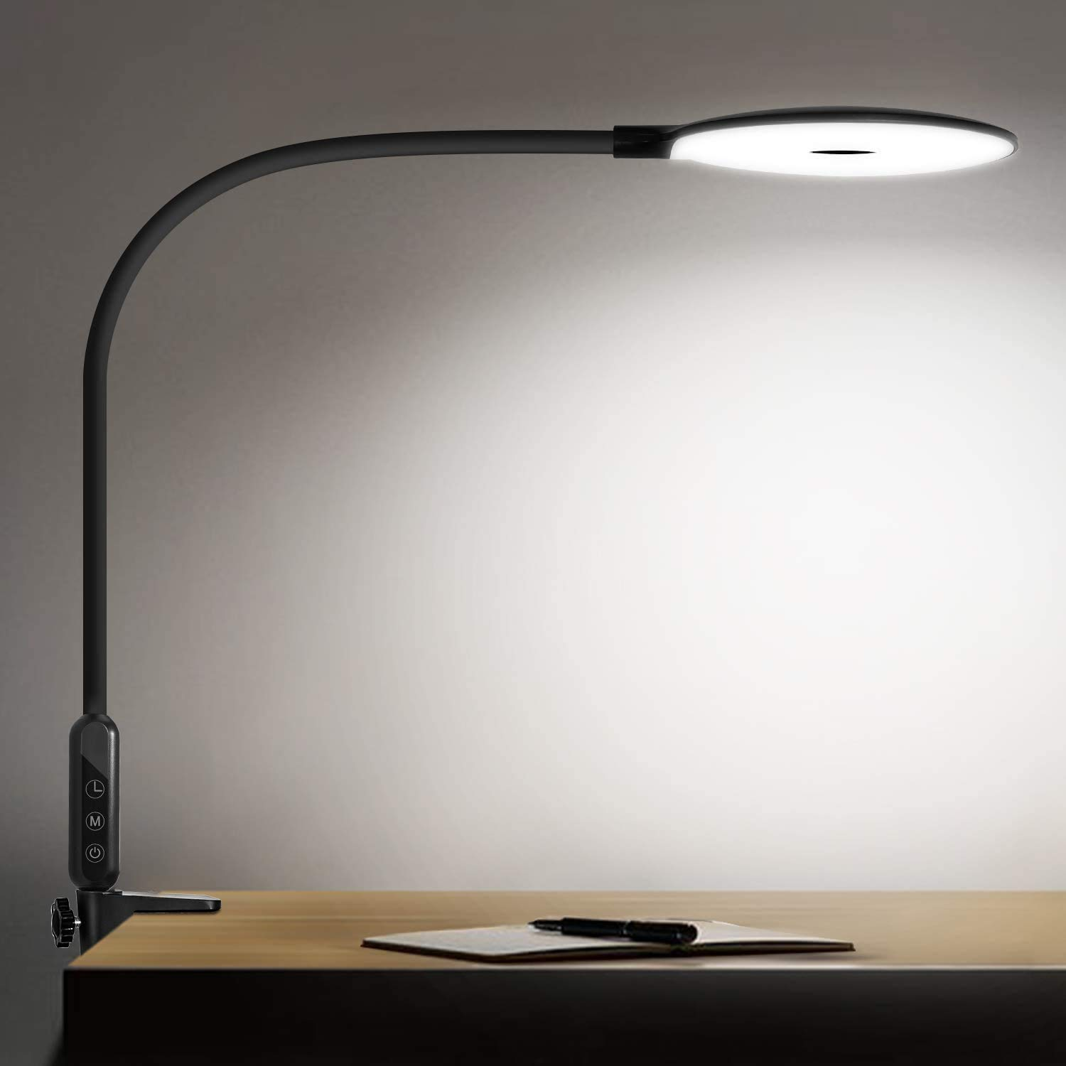 LED Desk Lamp with Clamp Reading Lamp Eye-Care Table Lamp 4 Brightness