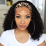 HeadBand Wig Curly Human Hair Wig None Lace Front Wigs for Black Women Deep Wave Machine Made Wigs Natural Color 150…