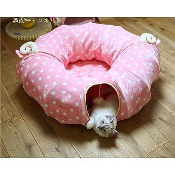 Bbacb túnel Gato Gato Saco de Dormir de Juguete Plegable túnel Gato con Alfombrilla Central Suave Gato Tubo Dormir Cama Juguete tamaño Luna Completa (Rosa): ...