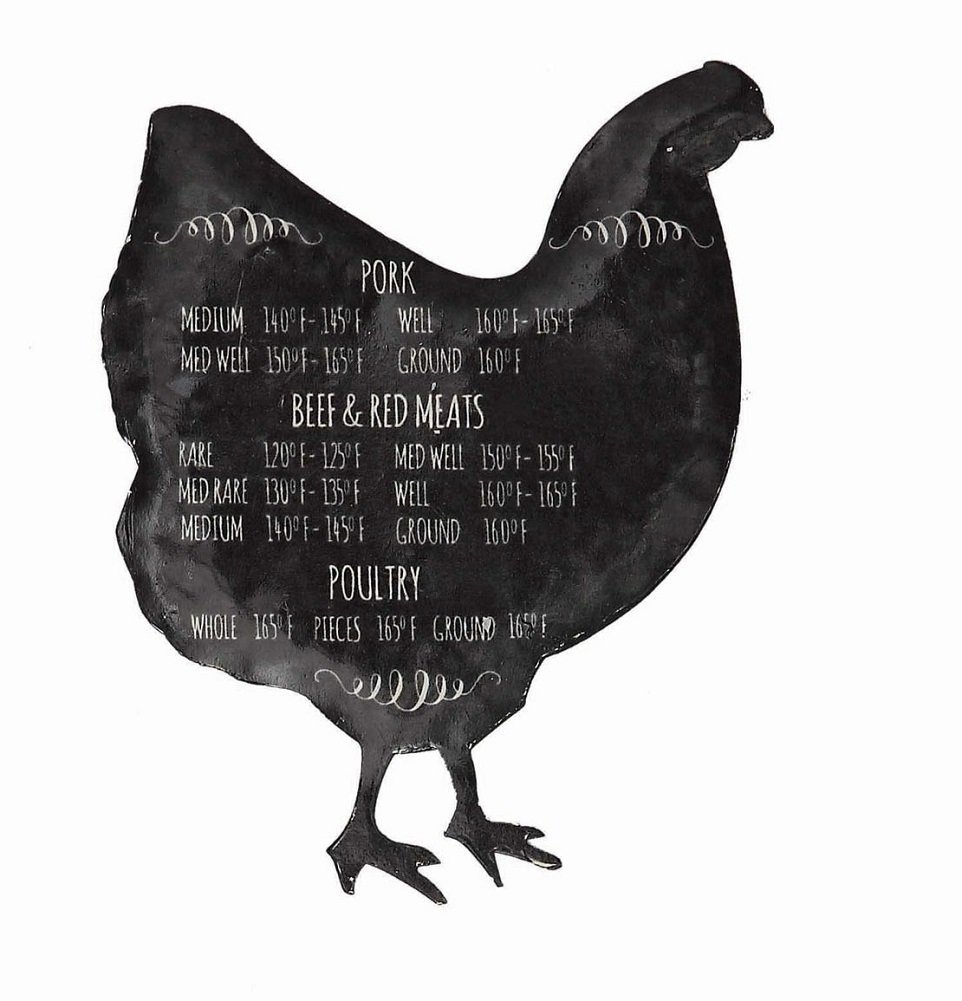 Black Chicken Magnet with Food Safe Temperature Notes
