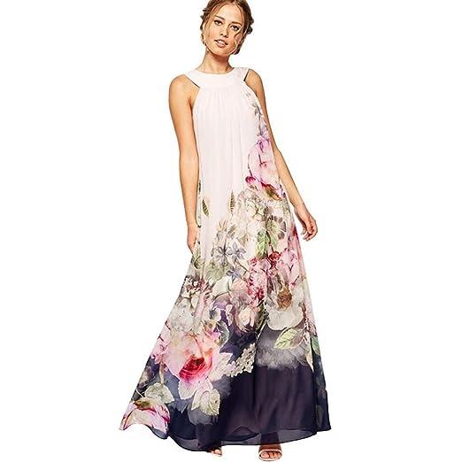 Long Dress Sleeveless,Clearance! AgrinTol Women Summer Casual Fit Flare Floral Sleeveless Dress (