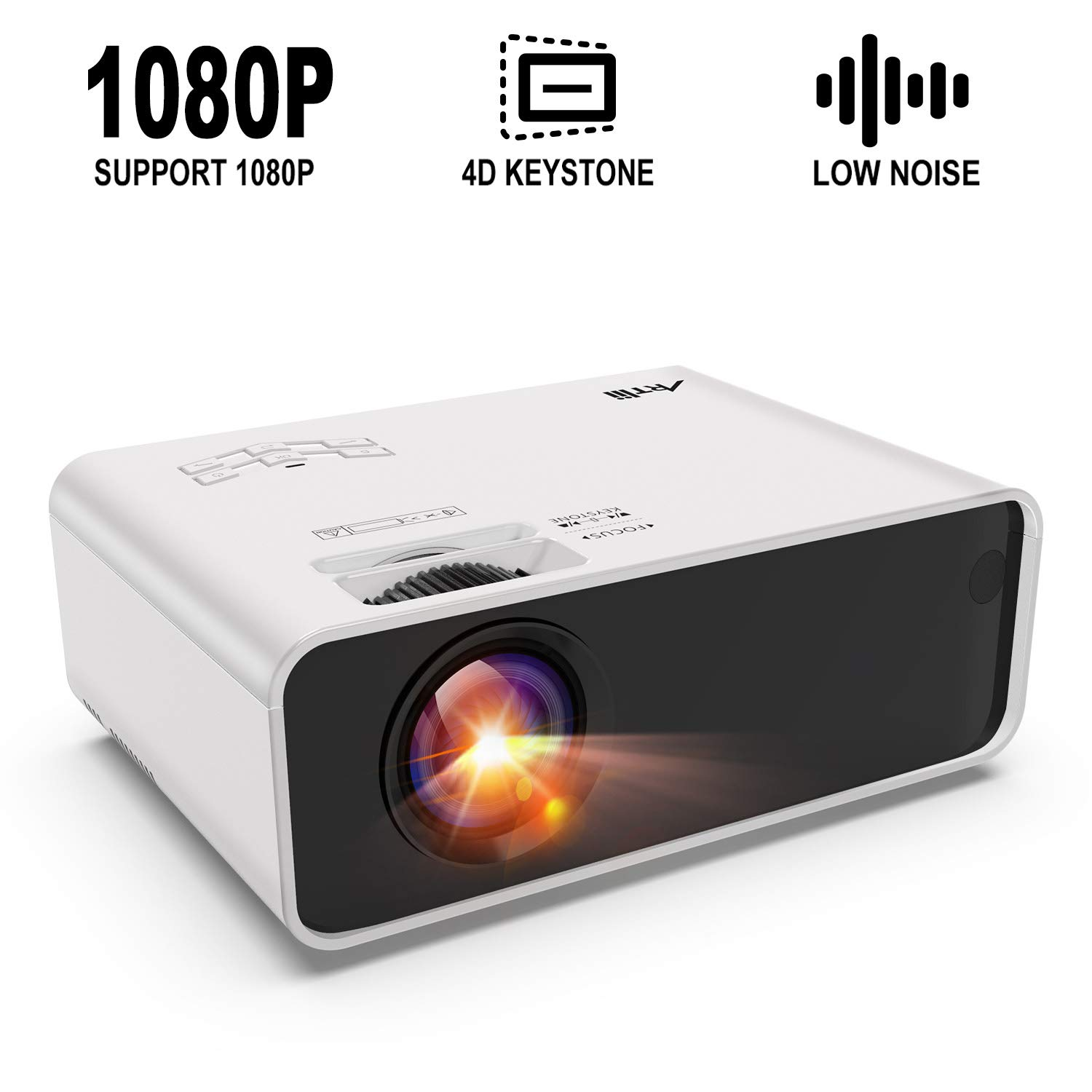 Mini Projector - Artlii Enjoy Portable Projector with ±45° Digital 4D Keystone Correction Lower Noise, HiFi Stereo,1080P Support Movie Projector Compatible Chromecast TV Phone Game Remote Learning