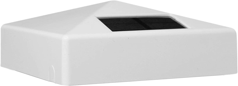 Classy Caps SL9901 4x4 White Pyramid PVC Solar Post Cap, 4