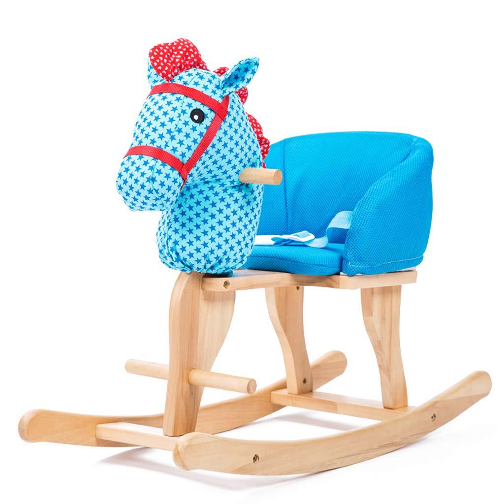 FJH Schaukelpferde Schaukelpferd kinder holz pferd musik Schaukelpferd Baby Spielzeug Schaukelstuhl Baby Geburtstagsgeschenk 75,5  30  56 cm (Farbe   Blau)