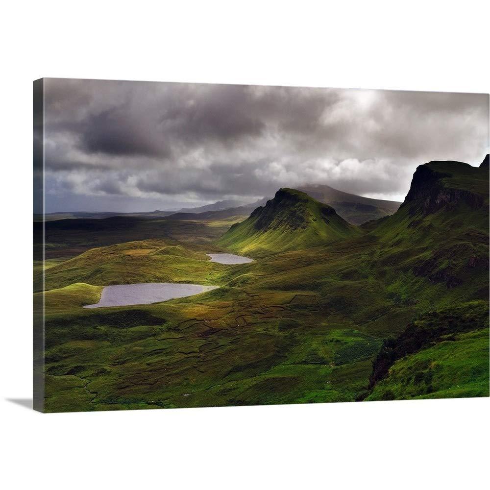 Riccardo Spilaプレミアムシックラップキャンバス壁アート印刷題名UK、スコットランド、ハイランド、スカイ島、半島Trotternish、Quiraing範囲 30