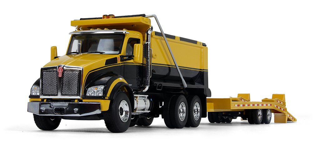 First Gear 1 50 Scale Diecast Collectible Yellow Black Yellow Kenworth T880 Dump Truck with Beavertail Trailer 50 3406