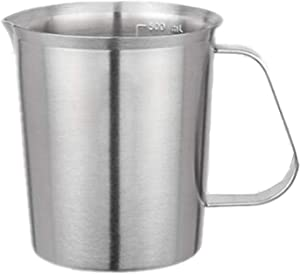 Tbagem-Yjr Stainless Steel Measuring Cups Measure Beaker, Food-Grade Measuring Milk Cup with Handles (Size : 500ml)