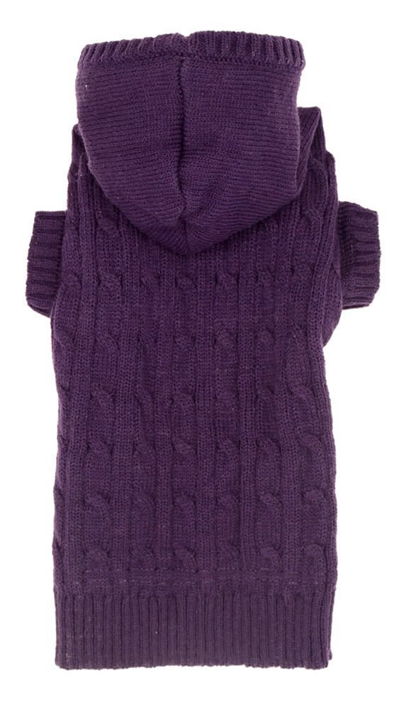 Purple Dog Classic Cable Pet Sweater Coat Clothes Hoodie for Dogs, 14'' Back Length (XL) Size