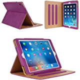 iPad 2 Case,iPad 3 Case,iPad 4 Case - Leather Stand Folio Case Cover for Apple iPad 2/3/4 Case with Multiple Viewing Angles, Document Card Pocket (Purple)