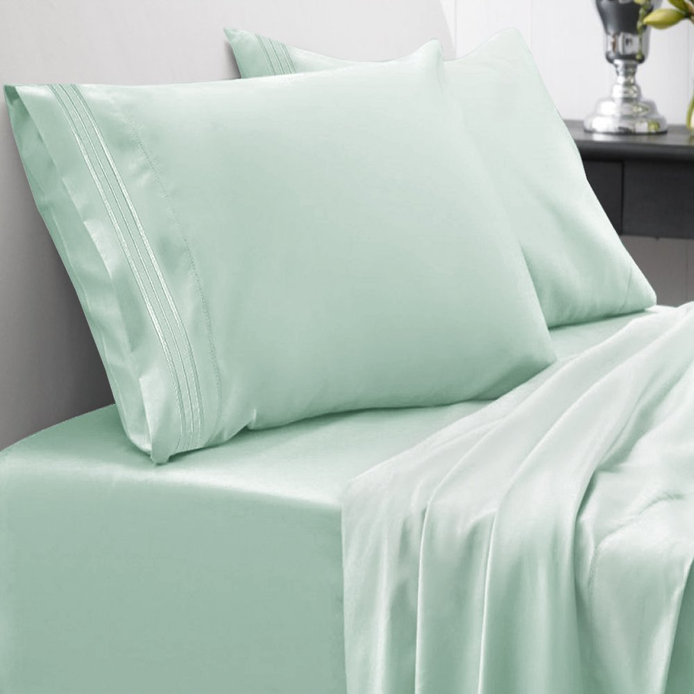 Sweet Home Collection 1800 Thread Count Bed Sheet Set Egyptian Quality Brushed Microfiber 5 Piece Deep Pocket, Split King, Mint