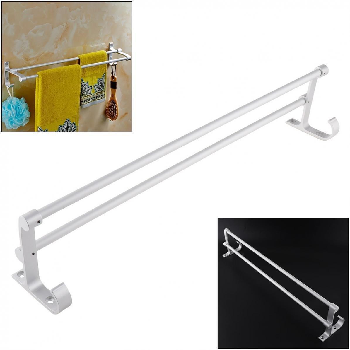 Agordo Aluminum Double Bar Home Towel Rail Rack Wall Mounted Holder Hanger for Bathroom