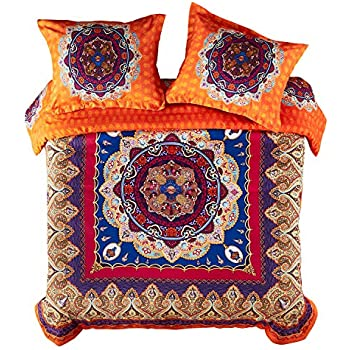 Wake In Cloud - Mandala Duvet Cover Set, Orange Bohemian Boho Chic Medallion Printed Soft Microfiber Bedding, with Zipper Closure (3pcs, Queen Size)