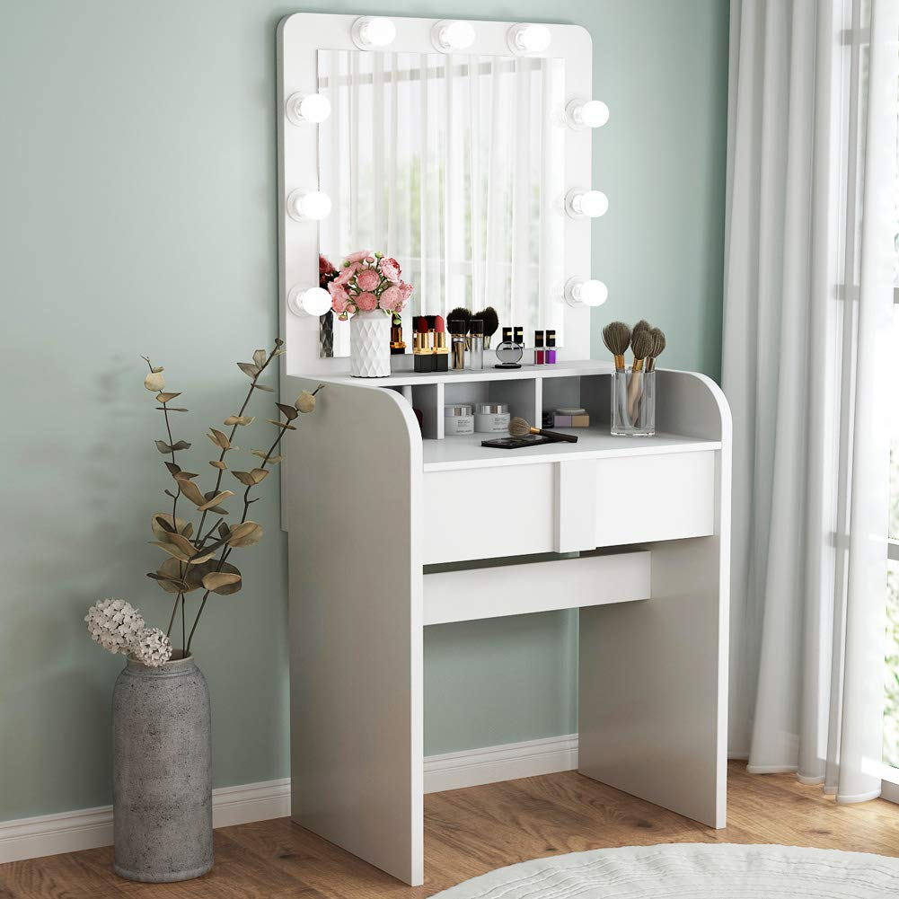 TribesignsVanity Table Setwith Lighted Mirror,Makeup Vanity Dressing Tablewith 9 Cool Light Bulb, ModernDressing Table Dresser Deskwith Drawers for Bedroom,(White) by Tribesigns