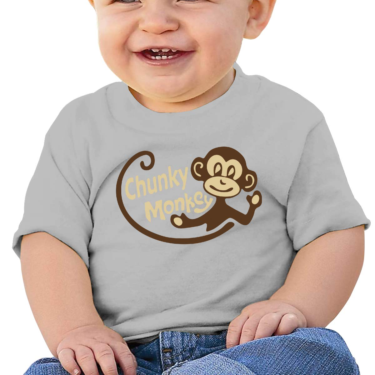 Baby T-Shirt,Child,Banana Chunky Monkey UBaby Boy Girl Short Sleeve T-Shirt Tops Casual Outfit Black