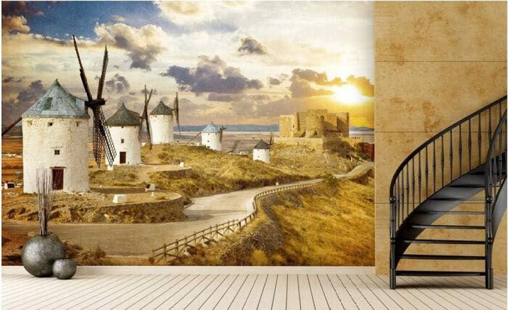 SKTYEE Papel tapiz de sala 3d mural personalizado molinos de viento holandeses no tejidos hermosos murales pintura foto papel tapiz para paredes 3d, 250x175 cm (98.4 by 68.9 in)