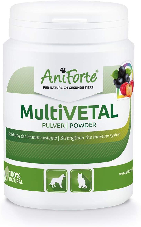 AniForte MultiVETAL es un multivitamínico en polvo para perros, gatos 100g - Vitaminas, minerales y nutrientes naturales para ayudar a las defensas de manera natural