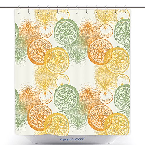 Custom Shower Curtains Wallpaper Seamless Pattern With Hand Drawn Oranges Citrus Drawing Of Pen Ink And Paper Fruit And 298131077 Polyester Bathroom Shower Curtain Set With Hooks (Zig Zag Papers Halloween Costumes)