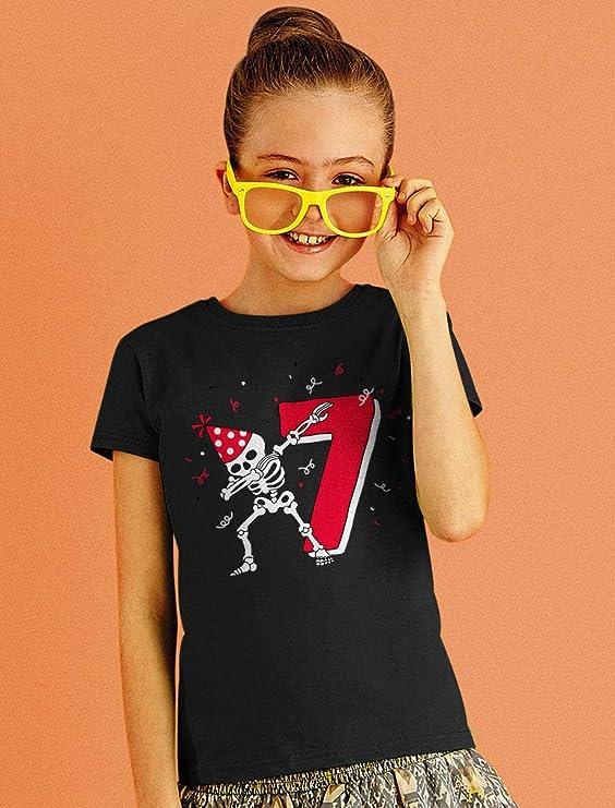 Dabbing Skeleton 7th Birthday Seventh Year Dab Girls Fitted Kids T-Shirt