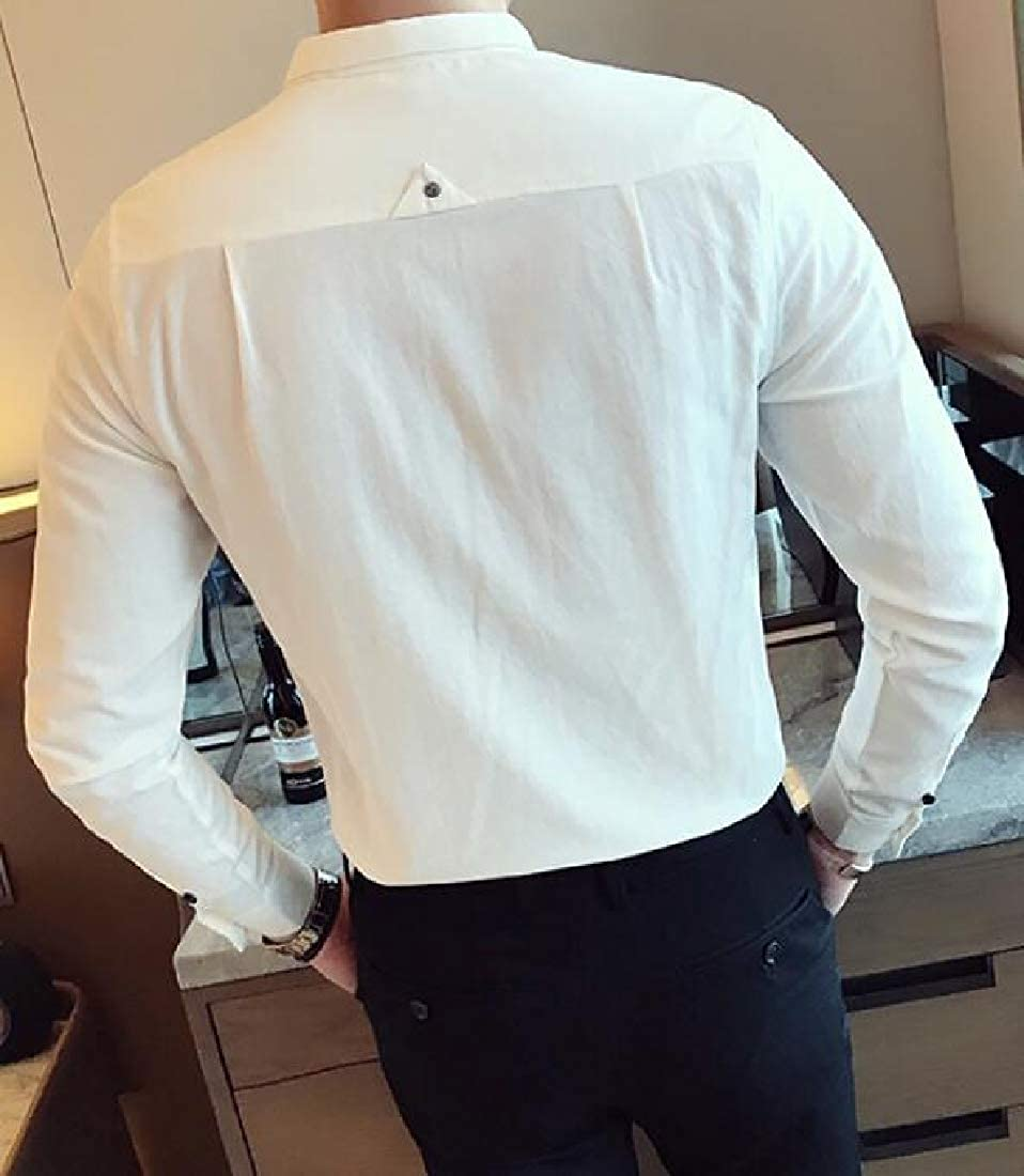 YYear Mens Club Embroidery Casual Long Sleeve Hair Stylist Work Button Down Dress Shirts