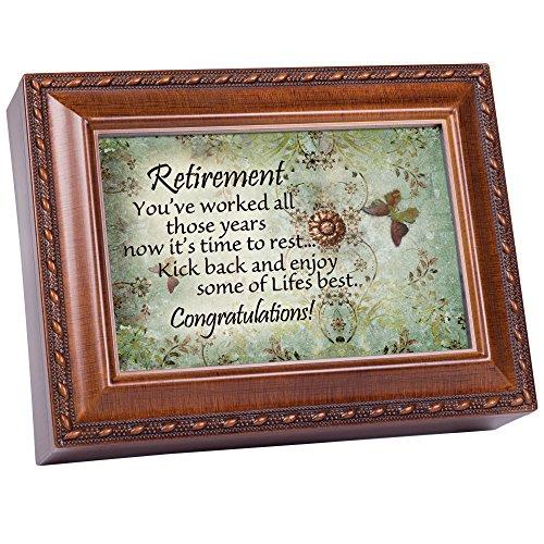 Cottage Garden Retirement Worked Hard Those Years Woodgrain Rope Trim Jewelry Music Box Plays Wonderful -