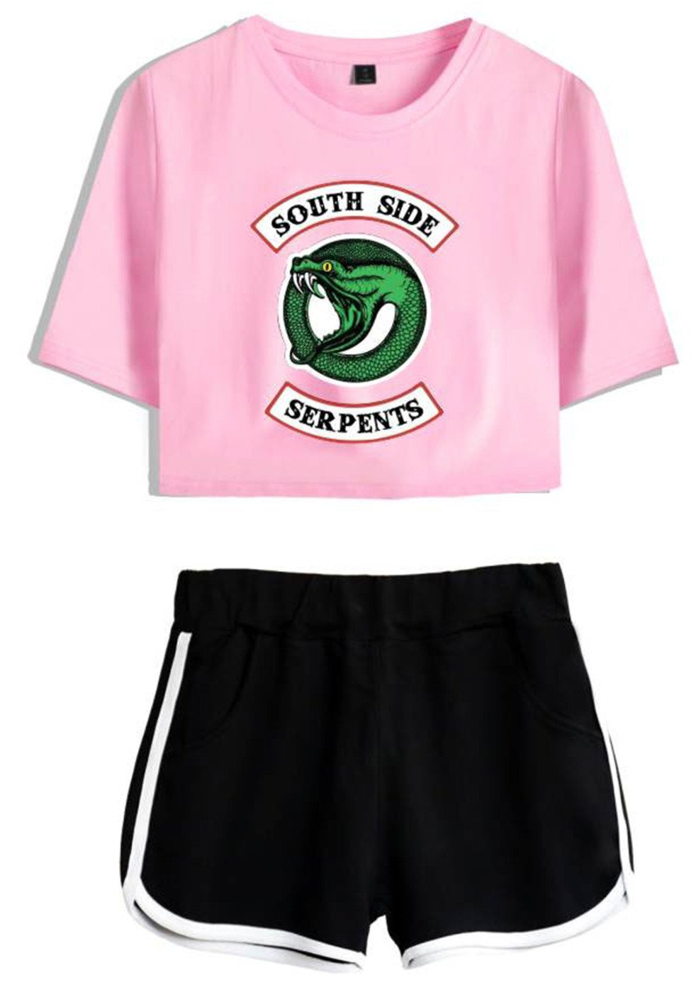 SERAPHY Riverdale Clothing Crop Top T-Shirt and Shorts Suit for Girls/Wowen 4892 Pink-Black L