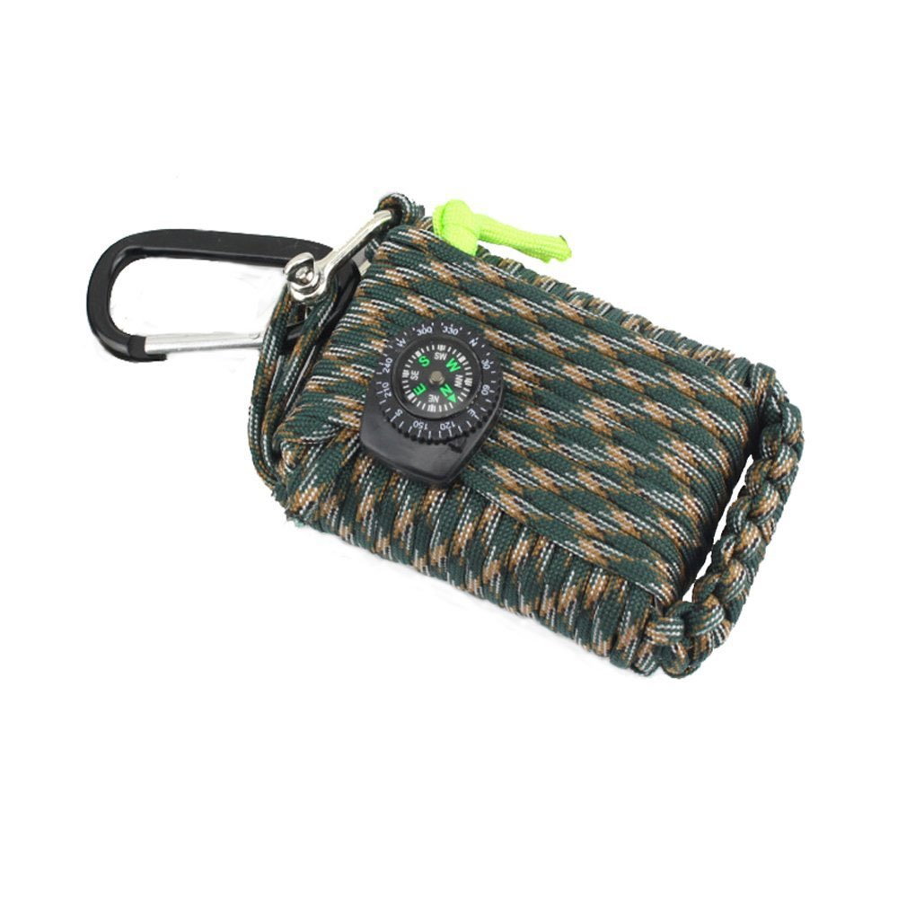 23 Piece in 1 Emergency Outdoor Survival Kit Paracord Rope 550 Grenade Includes Compass, Carabiner, Fishing Kit, Fire Starter, Whistle for Outdoor Tools (Color Camouflage) by AIJIAO (Image #1)