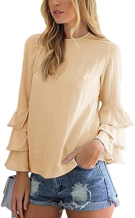 Mujeres Casual Camiseta con Volantes De Manga Larga Tunica Plus Size Top tee