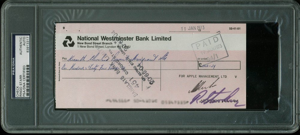 Ringo Starr The Beatles Certified Signed Autographed 3.5X8 1973 Check PSA/DNA Slabbed