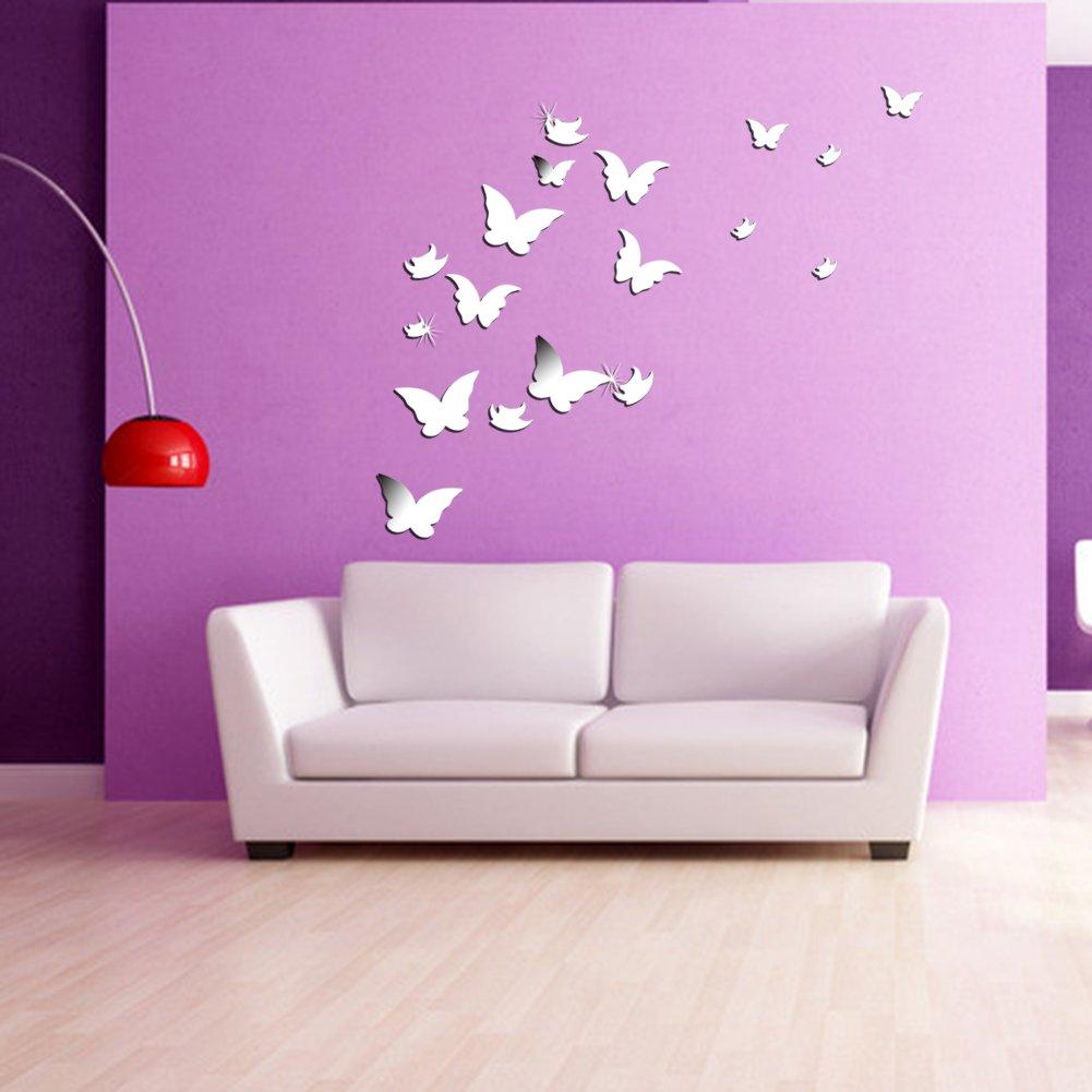 Wuiyepo 20pcs Farfalla Specchio 3D Wall Stickers DIY della ...
