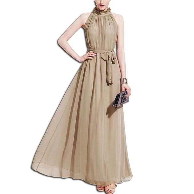 febf36475b1c KAXIDY Donna Vestiti Senza Maniche Abiti di Sera Elegante Abiti Sezione  Lunga Vestiti (Albicocca)  Amazon.it  Abbigliamento