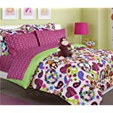 Girl's peace, love and monkey print comforter set with sheet set (twin size)