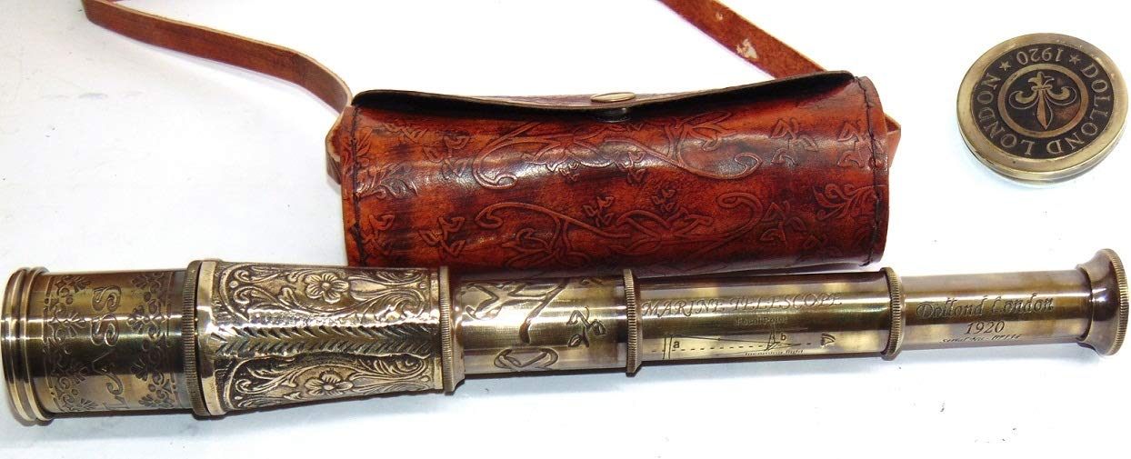 Calvin Antique Marine Nautical Pirate Brass Flower Carving Telescope   Brass Nautical Telescope   Dolland London 1920 Scope   Comes with Leather Case   Great for Home Decor, Gift