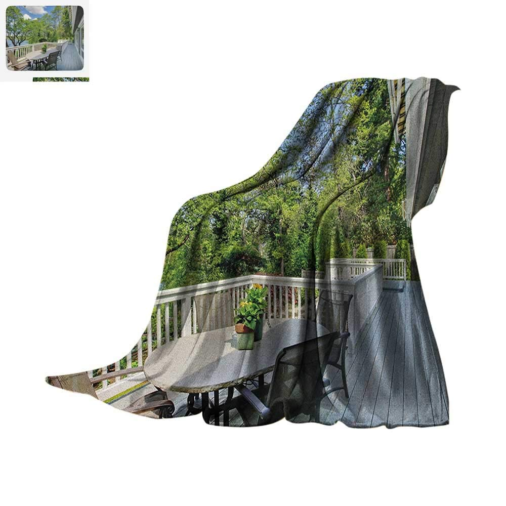 Amazon.com: Modern Throw Blanket Home Patio Balcony with Peaceful Woods in Clear Sunny Sky Photograph Print Artwork Image 60