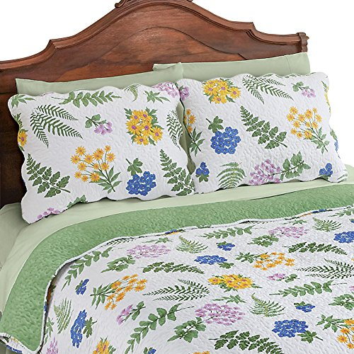Collections Etc Fern Garden Floral Quilted Pillow Sham, Green