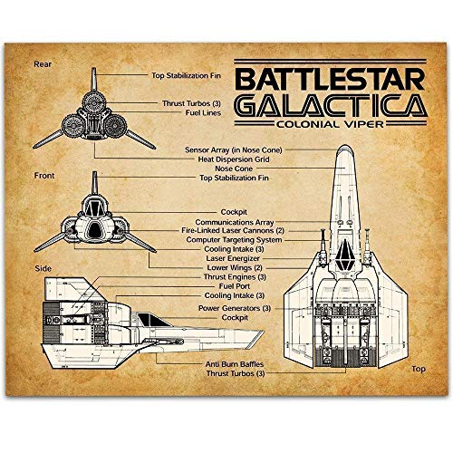 Battlestar Galactica Colonial Viper - 11x14 Unframed Patent Print - Great Game Room Decor Under $15 ()