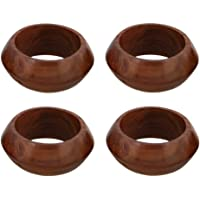 Shalinindia Napkin Rings Handcrafted In Natural Wood-Set of 4 Rings,RH_Z_1709_S4