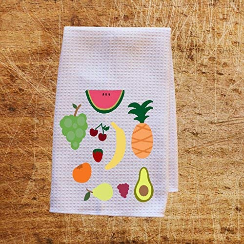 Fruit Icons Waffle Weave Kitchen Towels Drying Cloth 16inch X 24inch White