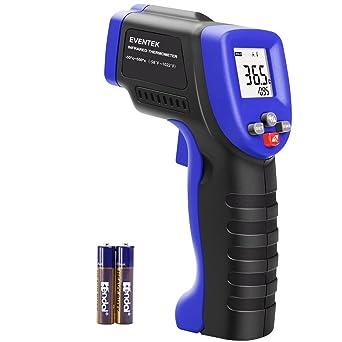 Termometro laser, Termómetro Infrarrojo Eventek Digital Laser IR Sin Contacto, Pistola de Temperatura -