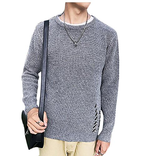 FLCH+YIGE Mens Autumn Winter Round Neck Solid Long Sleeve Knitted Pullovers Sweater free shipping