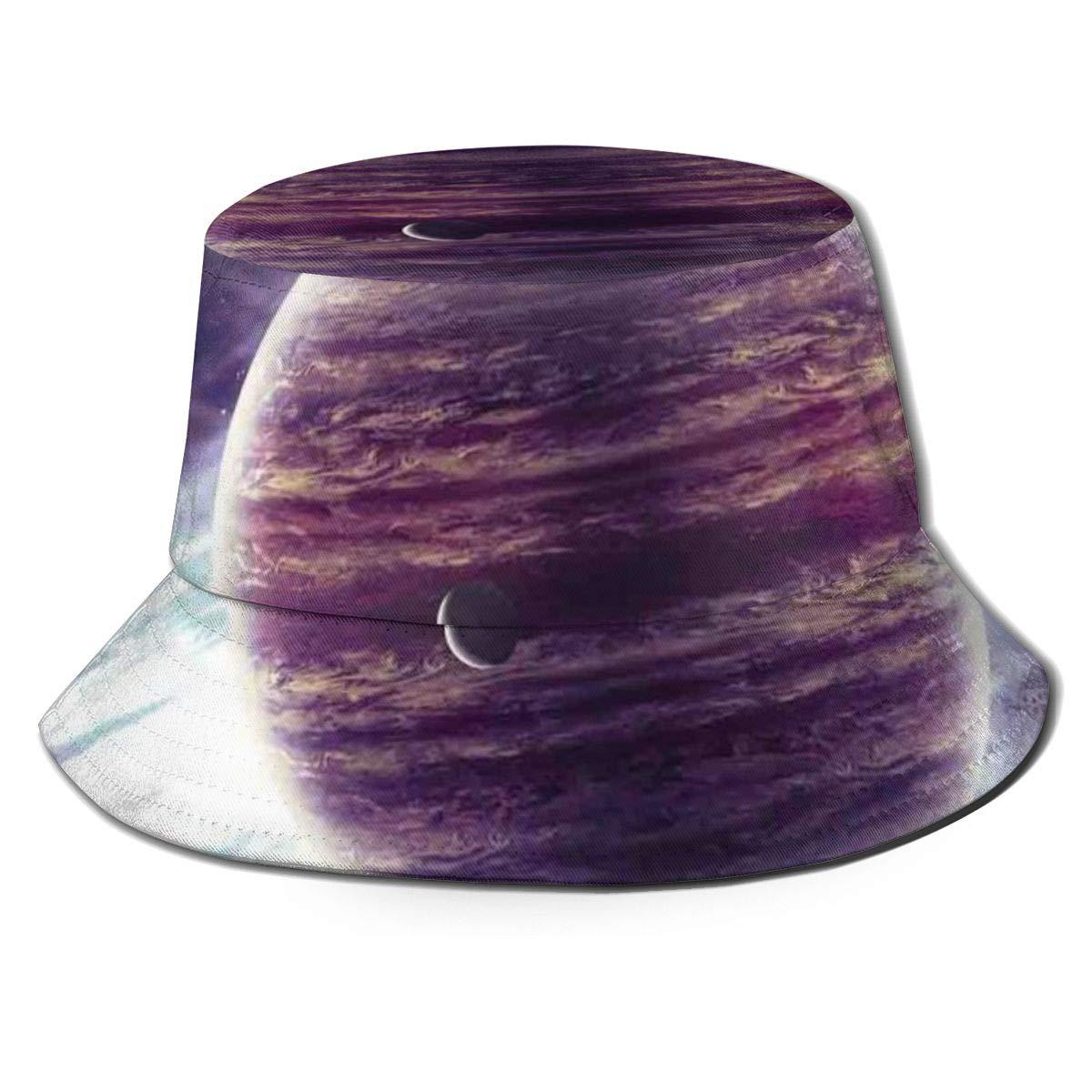 Unisex Summer Fisherman Cap,Outer Space Theme Planets Saturn Mars Neptune Science Fiction Solar Scene Artprint,Travel Beach Outdoor Sun Hat