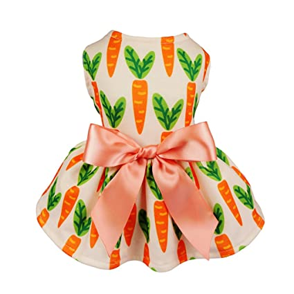 4c78f5a0bd82 Fitwarm Carrot Ribbon Pet Clothes for Dog Dresses Vest Shirts Sundress  Orange Medium