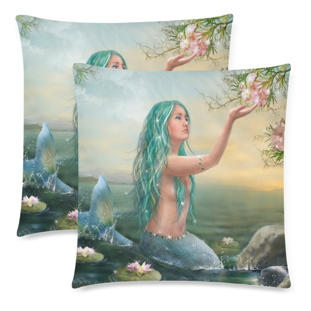 Pillow Cushion Cases Pillowcase for Home Couch Sofa Bedding Decorative Watercolor Foggy Forest Landscape Winter Hill Wild Nature Throw Pillow Covers 18x18 Set of 2