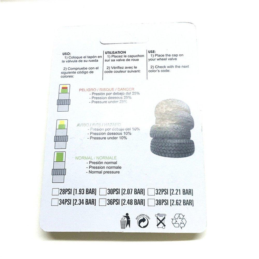 Amazon.com: 2.4Bar 36psi ,2.2Bar 32psi ,2.0Bar 30psi Air Warning Alert Tire Valve Pressure Sensor Monitor Light Cap Indicator For Car (1 set=4 caps) ...